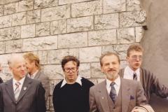 Открытие мемориальной доски И. Канта в Калининграде (Ленинский проспект). 23 сентября 1993 года. Слева направо: председатель общества «Кёнигсберг» (Германия), И.Д. Копцев, Л.А. Калинников