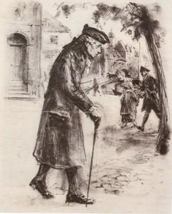 Г.Вольф. Кант на прогулке. Литография, 1924. Репродукция. Музей г. Кёнисберга.