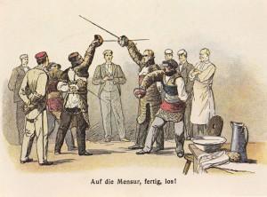 Открытка с изображением ритуальной дуэли вюрцбургской студенческой общины, 1900 г.